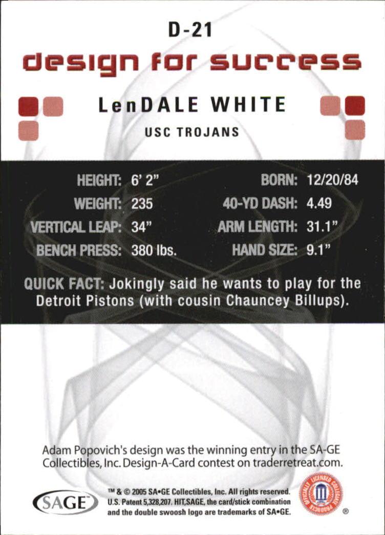 2006 SAGE HIT Design for Success Blue #D21 LenDale White back image