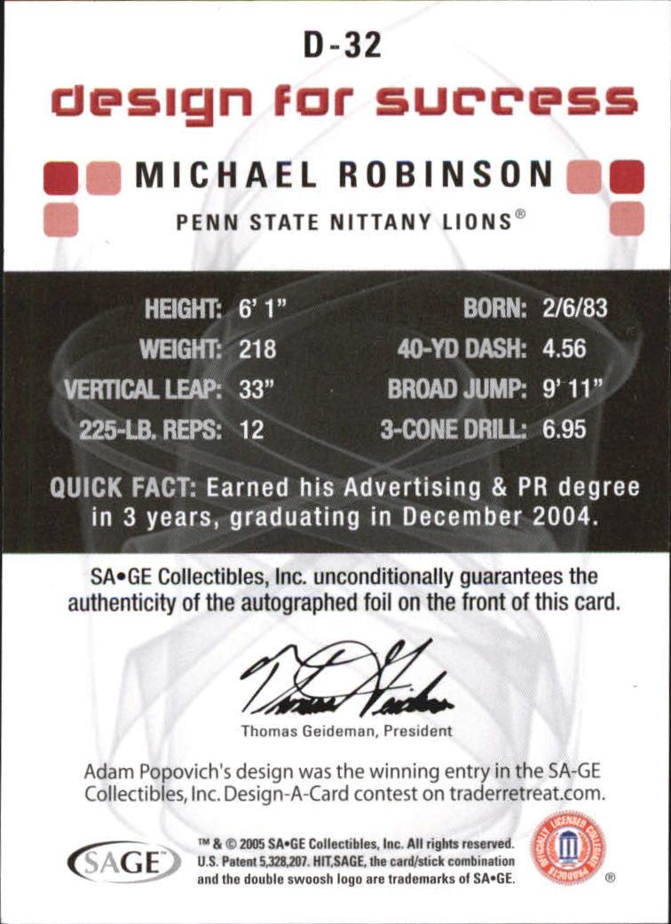 2006 SAGE HIT Design for Success Gold Autographs #DA32 Michael Robinson back image