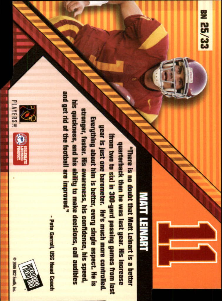 2006 Press Pass Big Numbers #BN25 Matt Leinart back image