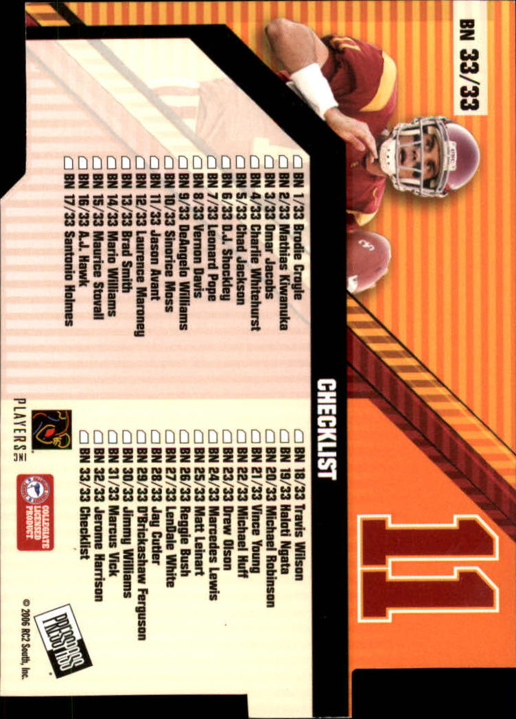 2006 Press Pass Big Numbers #BN33 Matt Leinart CL back image