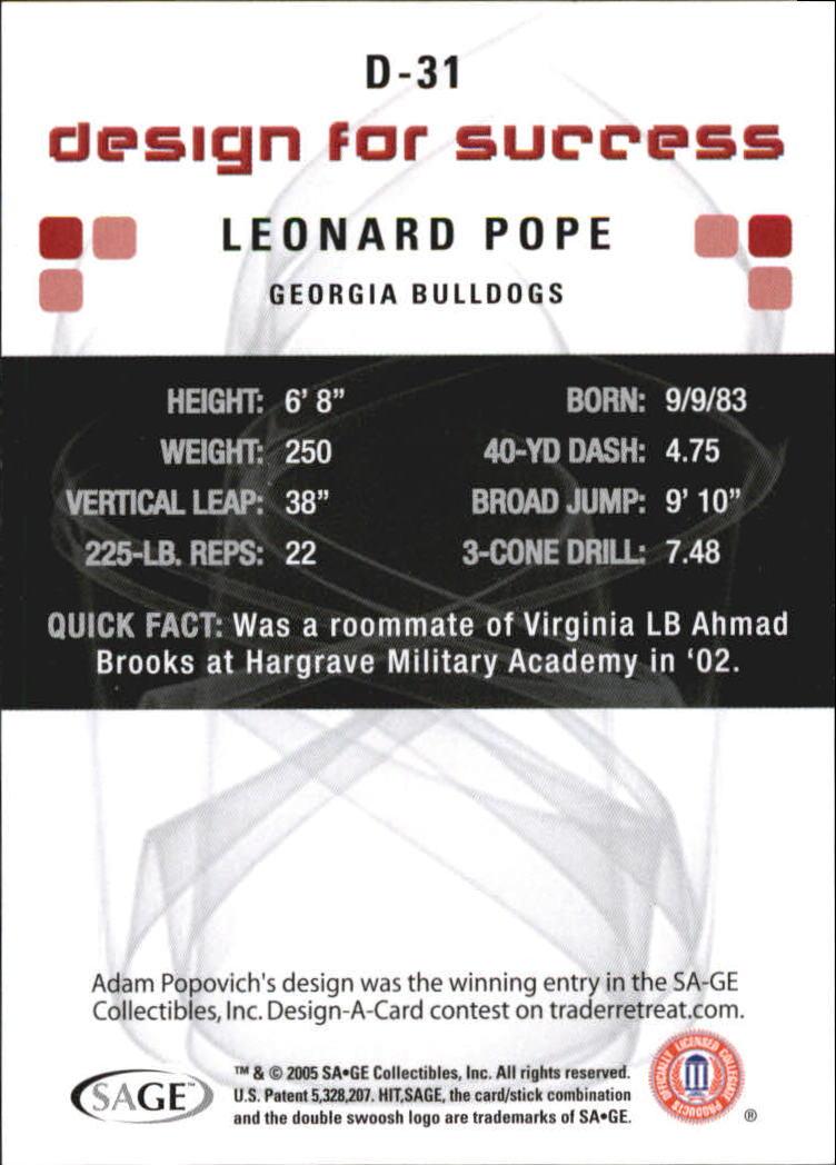 2006 SAGE HIT Design for Success Green #D31 Leonard Pope back image
