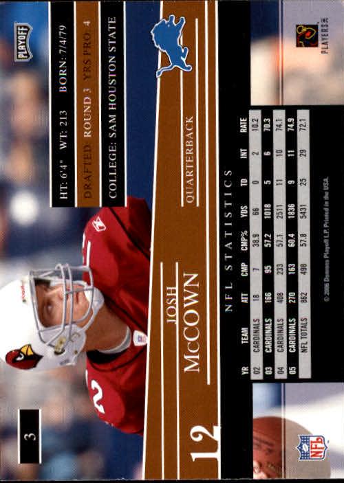 2006 Playoff Prestige #3 Josh McCown back image