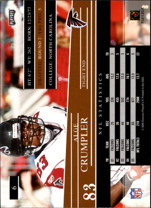 2006 Playoff Prestige #6 Alge Crumpler back image
