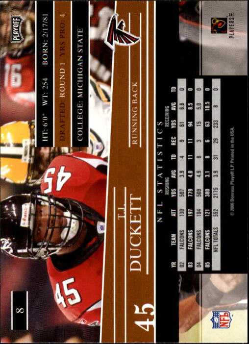2006 Playoff Prestige #8 T.J. Duckett back image