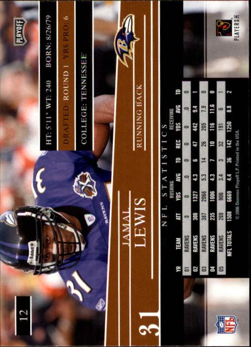 2006 Playoff Prestige #12 Jamal Lewis back image