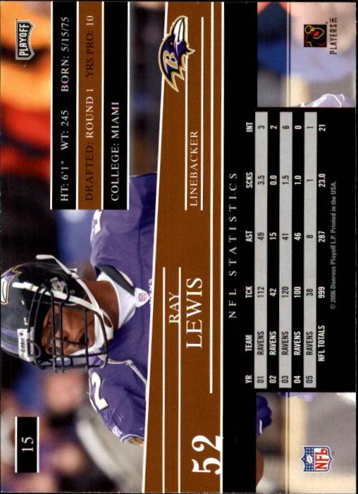 2006 Playoff Prestige #15 Ray Lewis back image