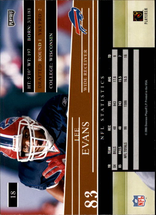 2006 Playoff Prestige #18 Lee Evans back image