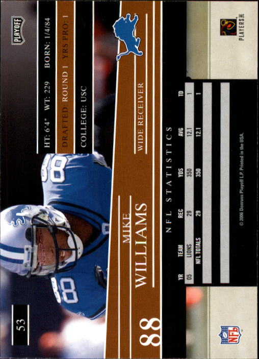 2006 Playoff Prestige #53 Mike Williams back image