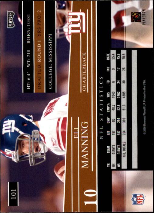 2006 Playoff Prestige #101 Eli Manning back image