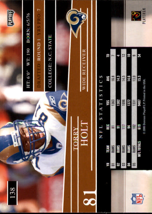 2006 Playoff Prestige #138 Torry Holt back image