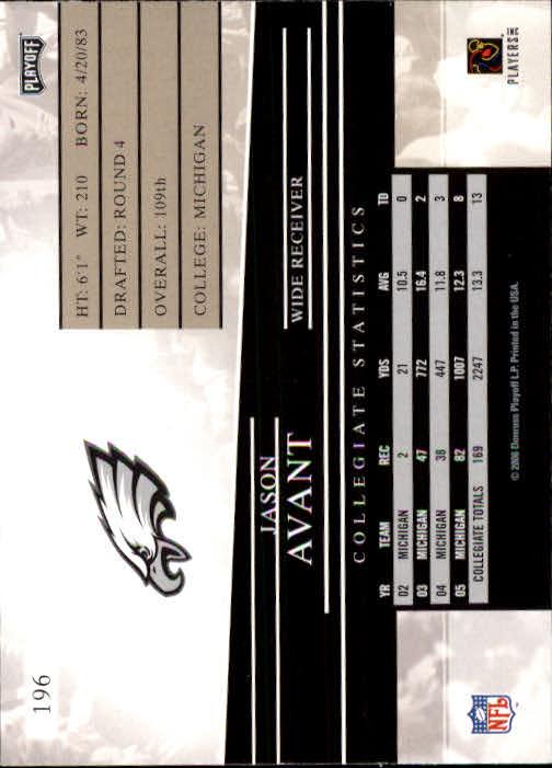 2006 Playoff Prestige #196 Jason Avant RC back image