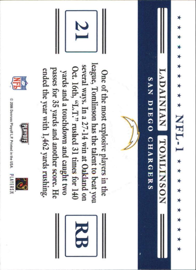 2006 Playoff Prestige Stars of the NFL #1 LaDainian Tomlinson back image