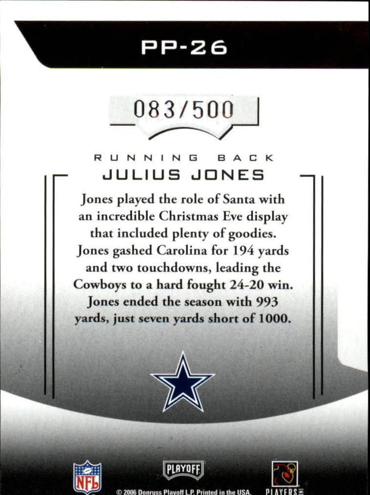2006 Playoff Prestige Prestigious Pros Orange #26 Julius Jones back image
