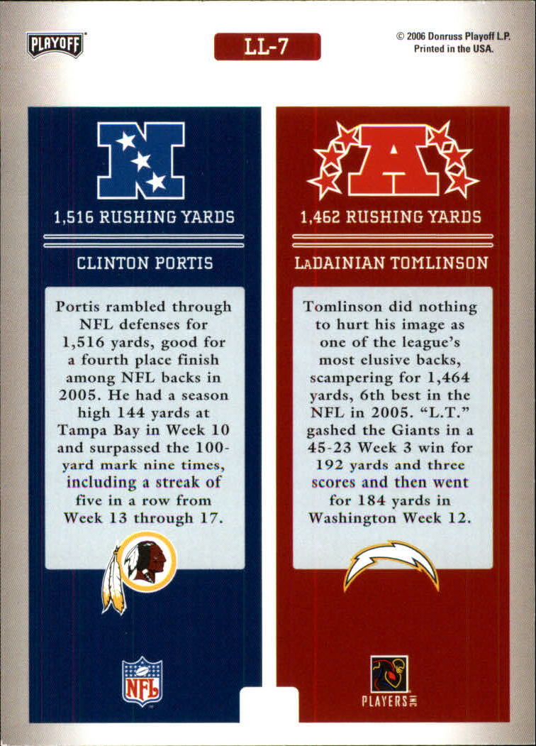 2006 Playoff Prestige League Leaders #7 Clinton Portis/LaDainian Tomlinson back image
