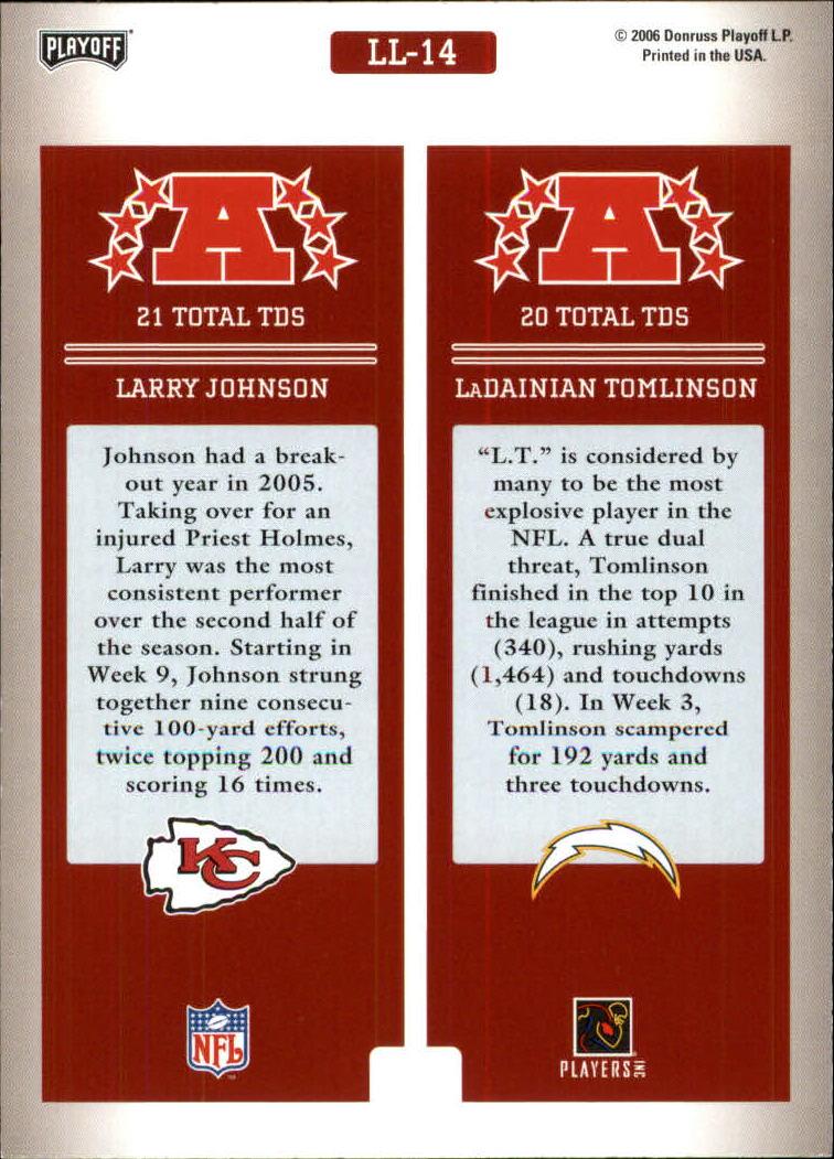2006 Playoff Prestige League Leaders #14 Larry Johnson/LaDainian Tomlinson back image