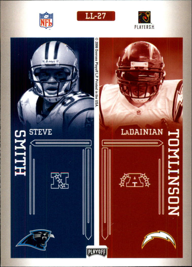 2006 Playoff Prestige League Leaders #27 Shaun Alexander/Larry Johnson/Steve Smith/LaDainian Tomlinson back image