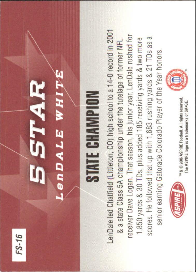 2006 Aspire 5 Star #FS16 LenDale White back image