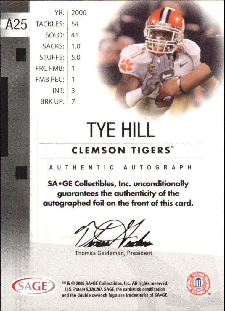 2006 SAGE Autographs Silver #A25 Tye Hill/400 back image