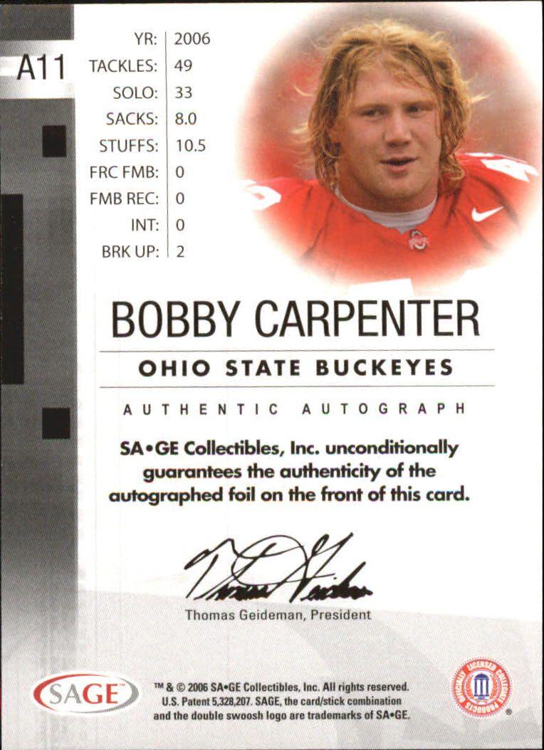 2006 SAGE Autographs Red #A11 Bobby Carpenter/999 back image