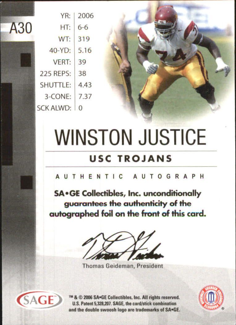 2006 SAGE Autographs Red #A30 Winston Justice/700 back image