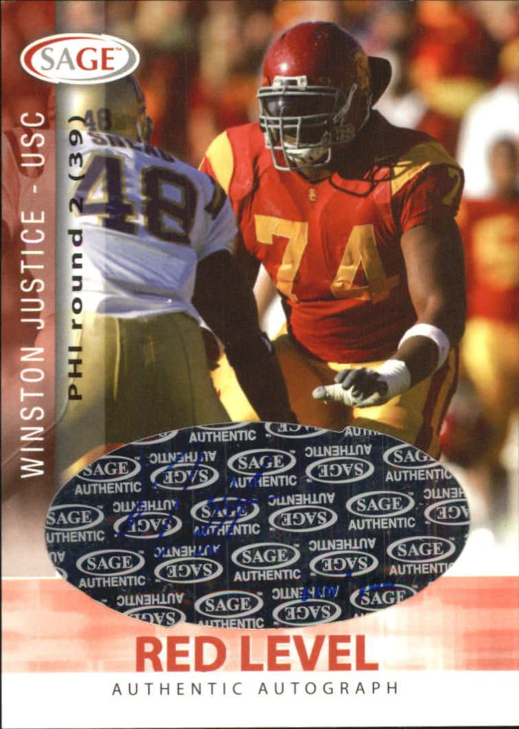 2006 SAGE Autographs Red #A30 Winston Justice/700
