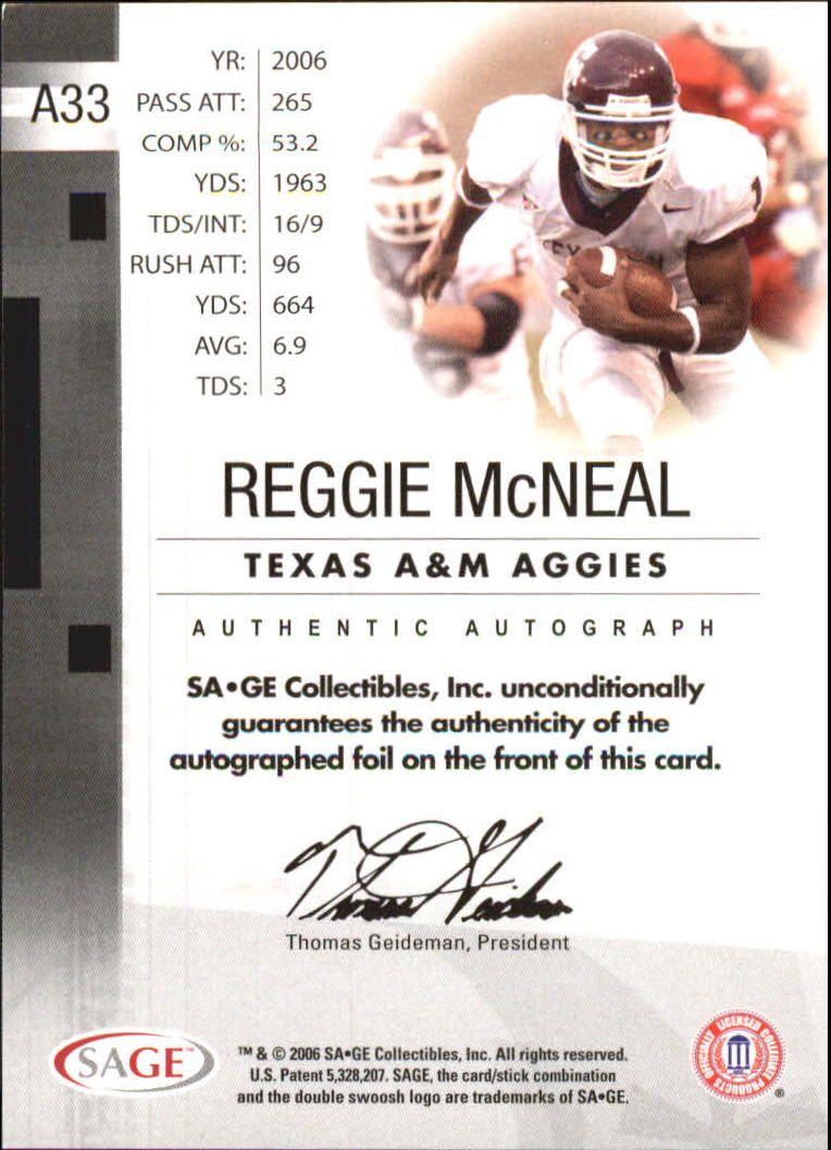 2006 SAGE Autographs Red #A33 Reggie McNeal/700 back image
