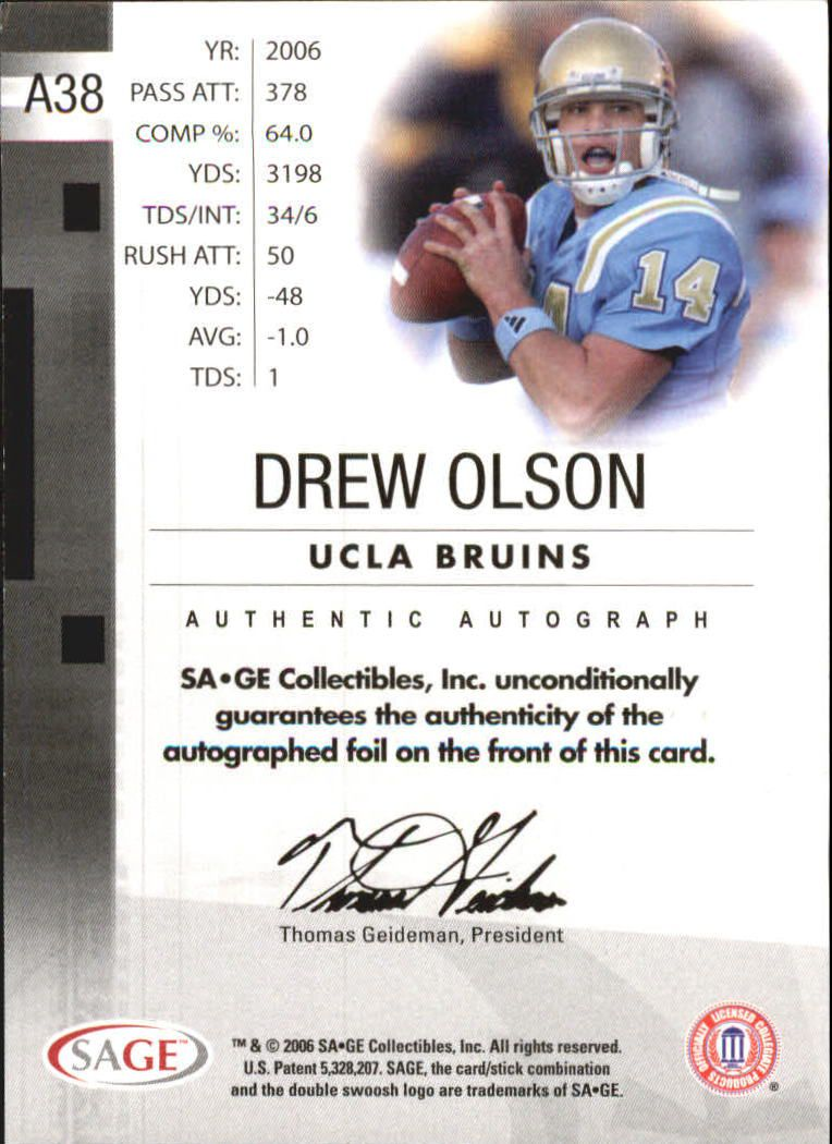 2006 SAGE Autographs Red #A38 Drew Olson/999 back image