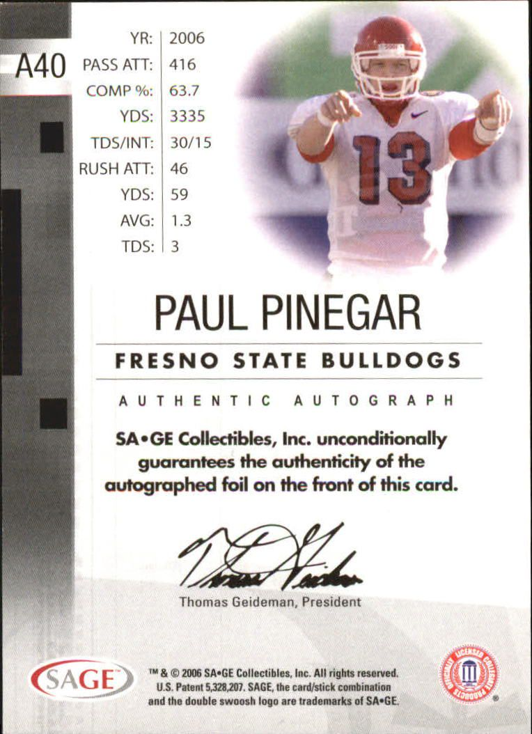 2006 SAGE Autographs Red #A40 Paul Pinegar/999 back image