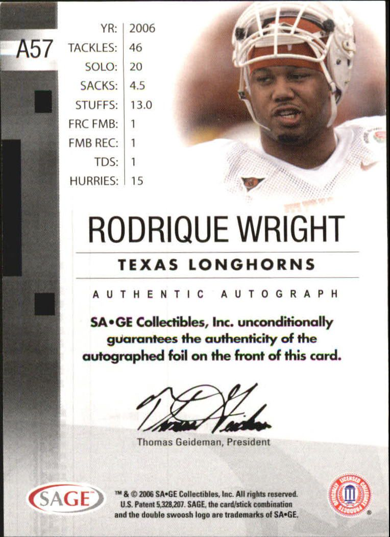 2006 SAGE Autographs Red #A57 Rodrique Wright/700 back image
