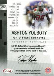 2006 SAGE Autographs Red #A58 Ashton Youboty/999 back image