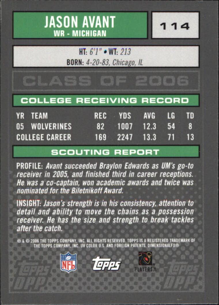 2006 Topps Draft Picks and Prospects Chrome Black #114 Jason Avant back image