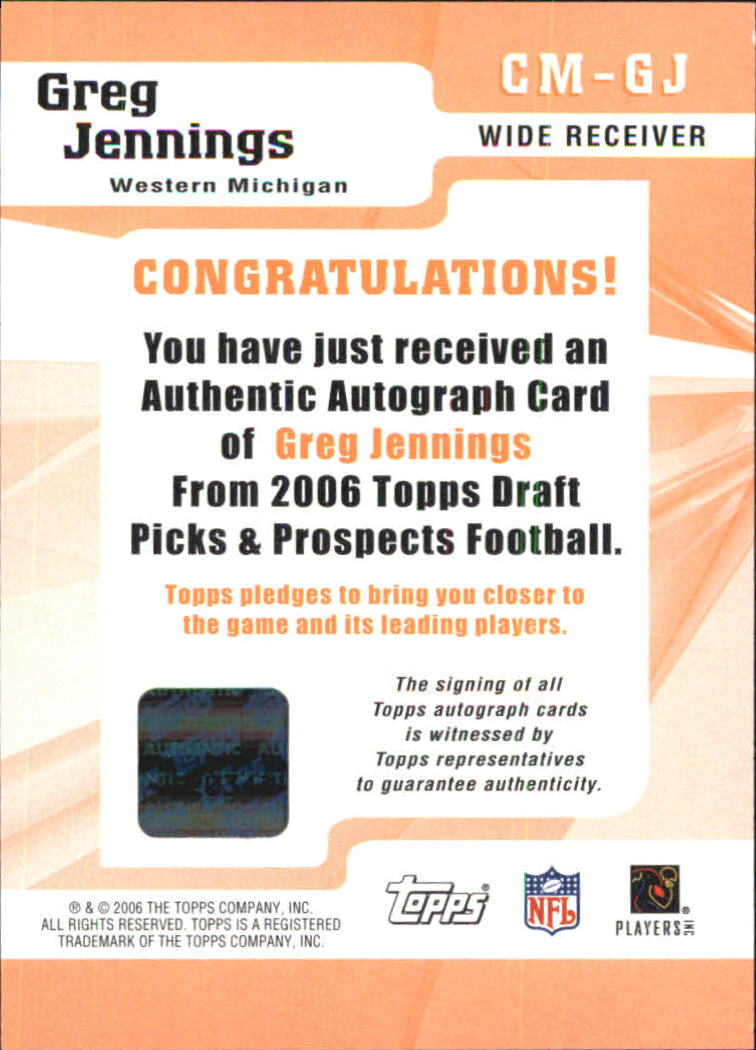2006 Topps Draft Picks and Prospects Class Marks Autographs #CMGJ Greg Jennings F back image