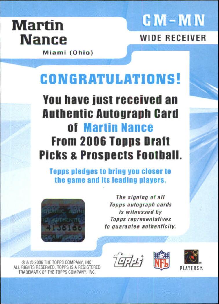 2006 Topps Draft Picks and Prospects Class Marks Autographs #CMMN Martin Nance E back image