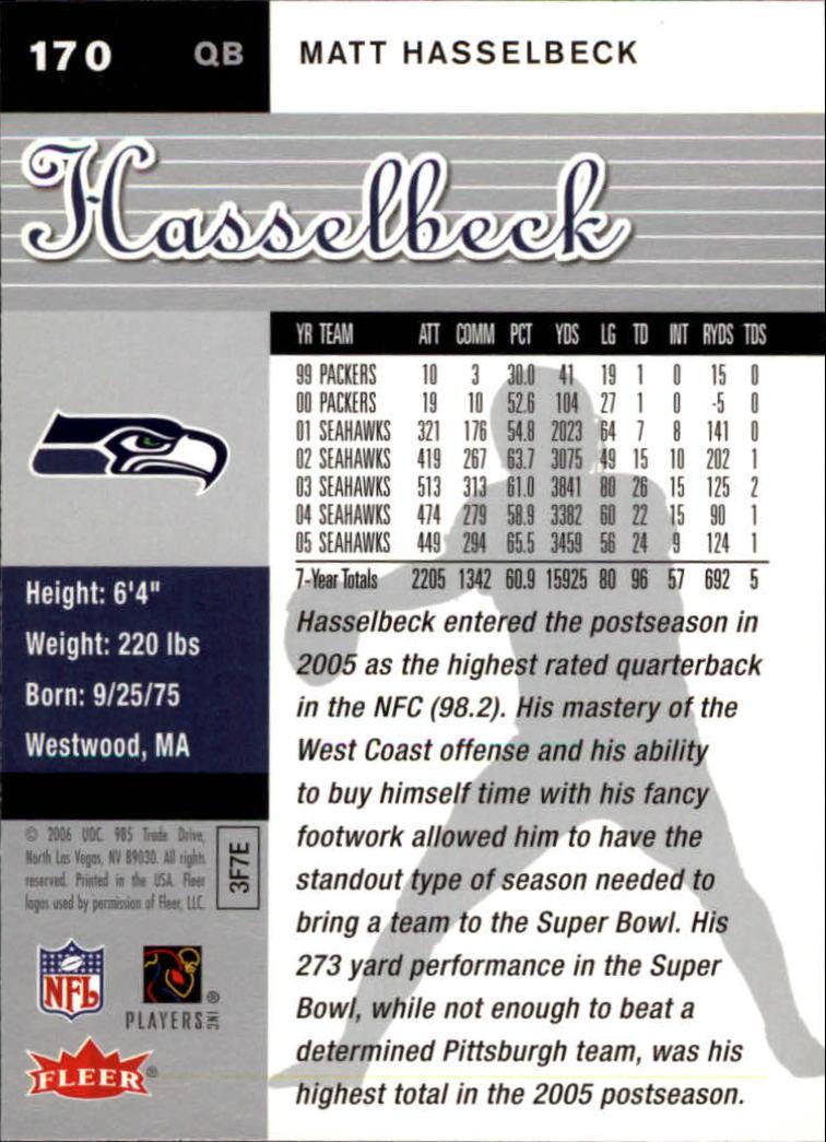 2006 Ultra #170 Matt Hasselbeck back image