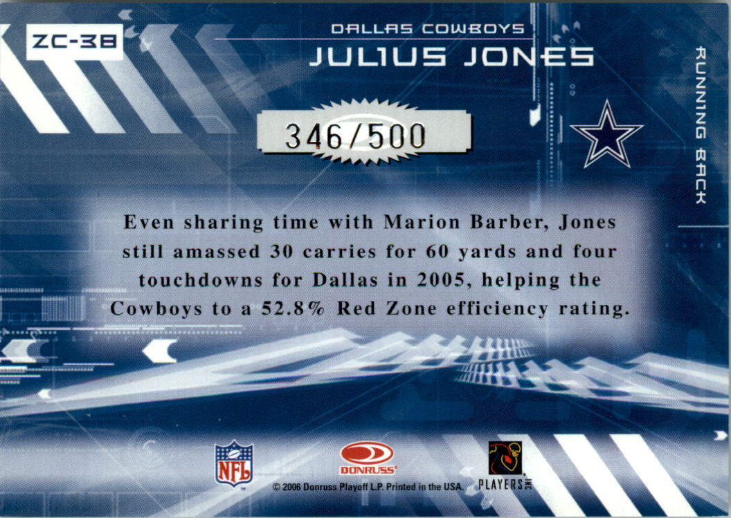 2006 Donruss Elite Zoning Commission Black #38 Julius Jones back image