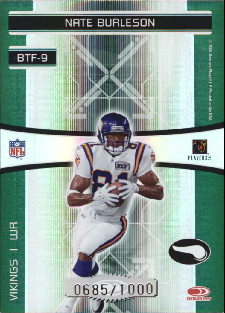 2006 Donruss Elite Back to the Future Green #9 Randy Moss/Nate Burleson back image