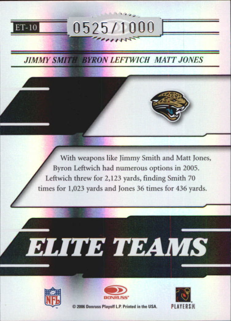 2006 Donruss Elite Elite Teams Black #10 Jimmy Smith/Byron Leftwich/Matt Jones back image