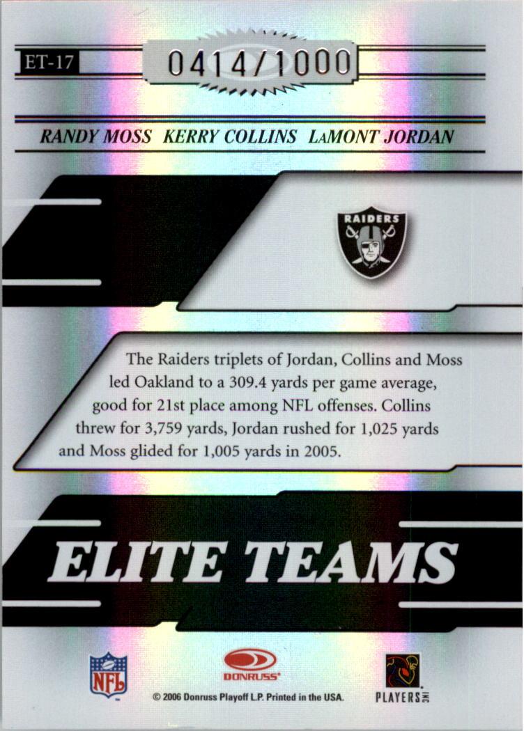 2006 Donruss Elite Elite Teams Black #17 Randy Moss/Kerry Collins/LaMont Jordan back image
