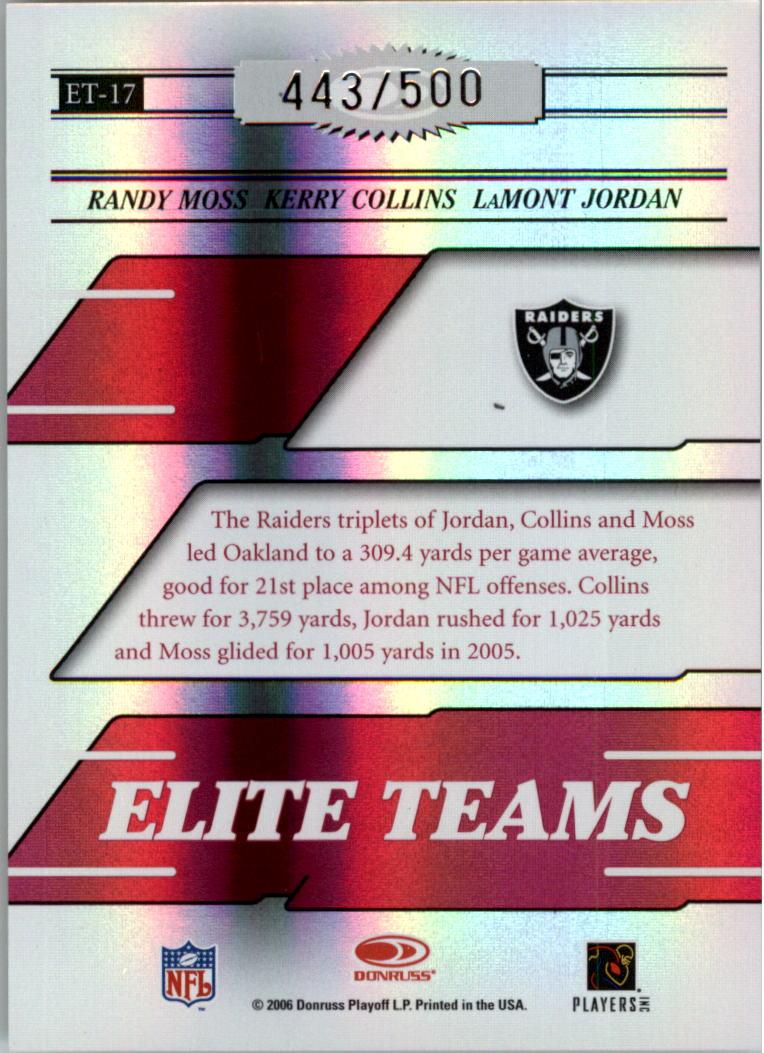 2006 Donruss Elite Elite Teams Red #17 Randy Moss/Kerry Collins/LaMont Jordan back image