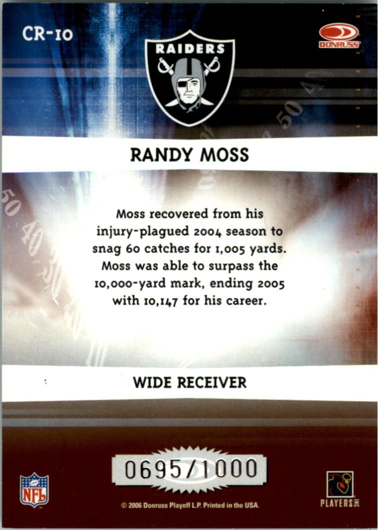 2006 Donruss Elite Chain Reaction Gold #10 Randy Moss back image