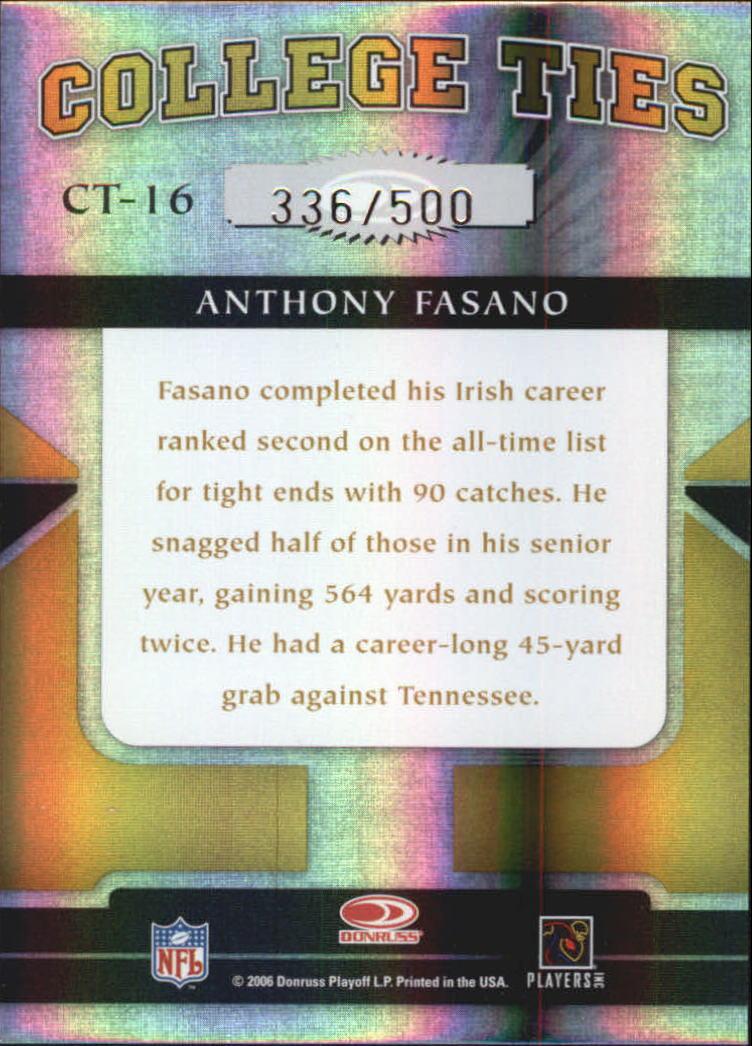 2006 Donruss Elite College Ties Gold #16 Anthony Fasano back image