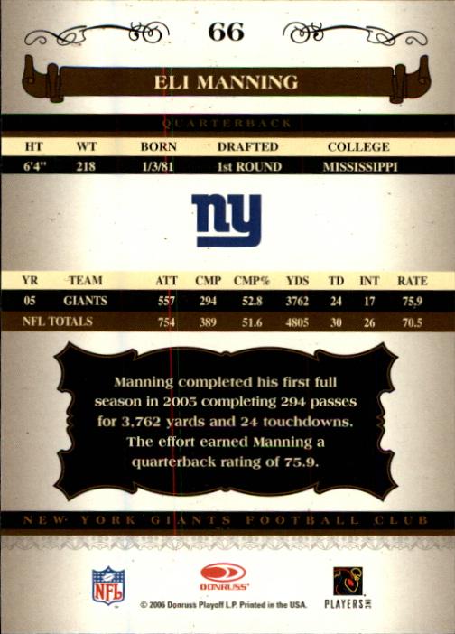 2006 Donruss Classics #66 Eli Manning back image