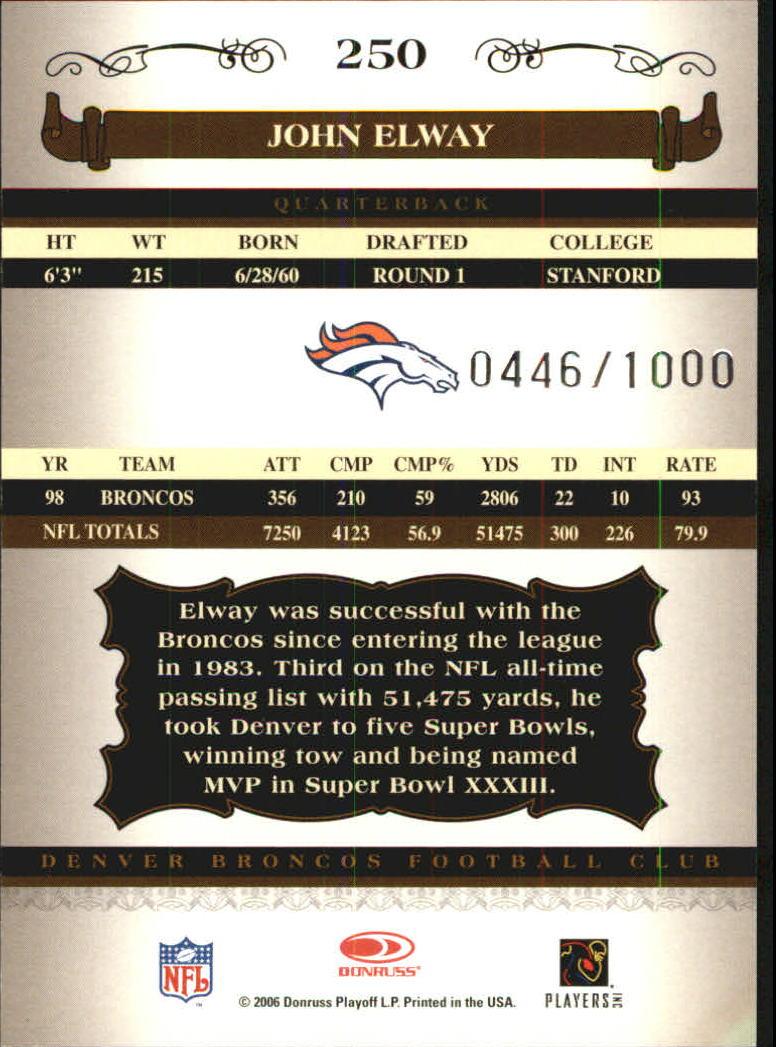 2006 Donruss Classics #250 John Elway back image