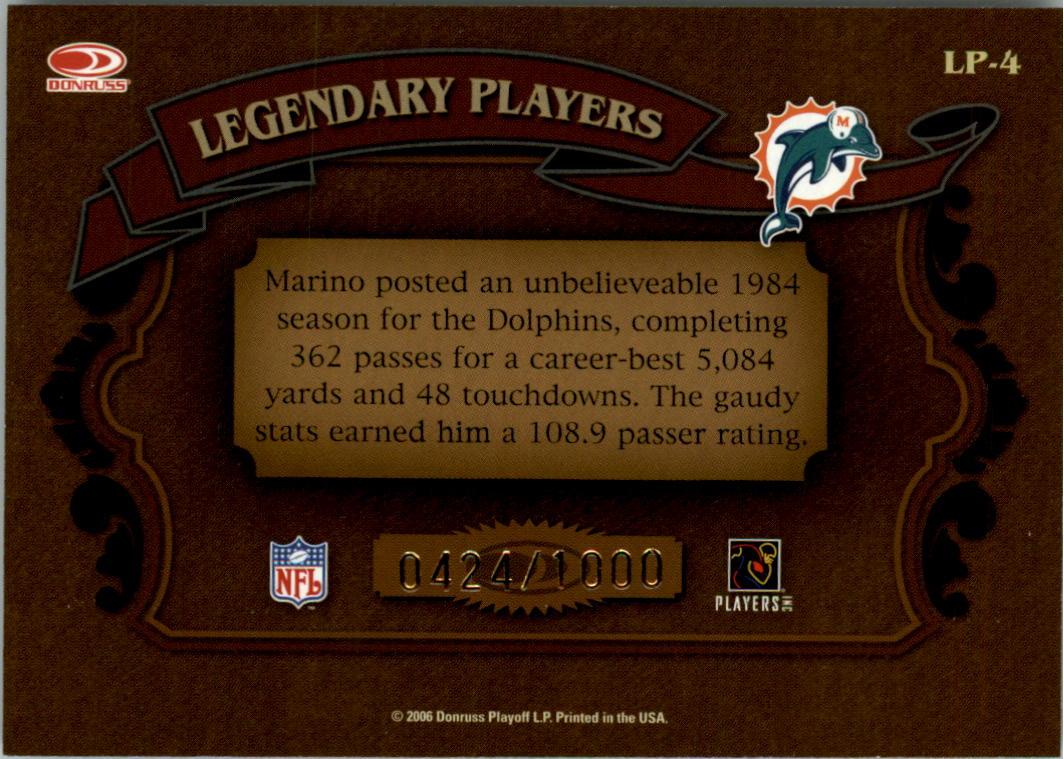 2006 Donruss Classics Legendary Players Bronze #4 Dan Marino back image