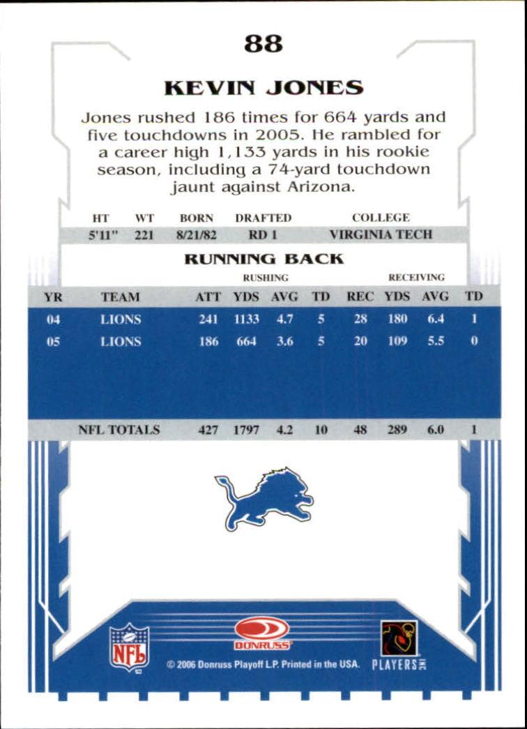 2006 Score #88 Kevin Jones back image
