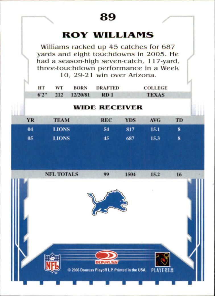 2006 Score #89 Roy Williams WR back image