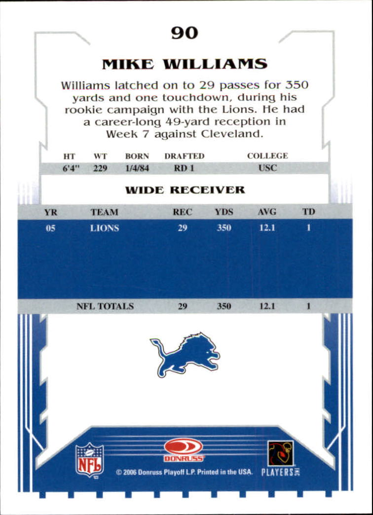 2006 Score #90 Mike Williams back image