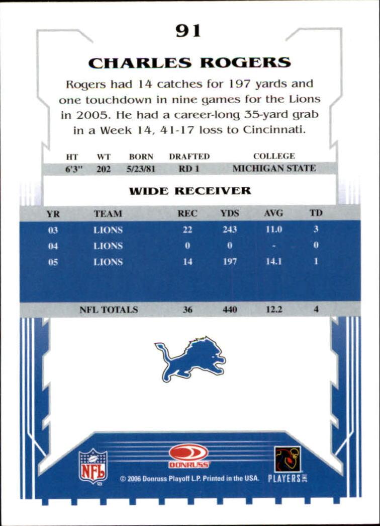 2006 Score #91 Charles Rogers back image