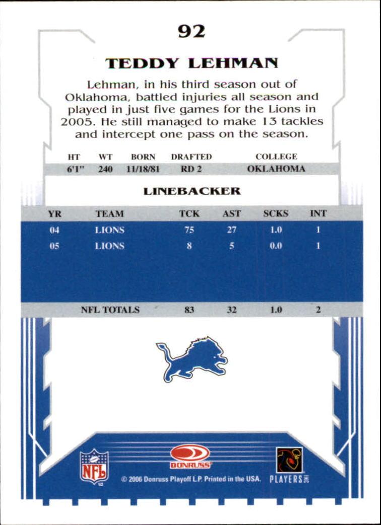 2006 Score #92 Teddy Lehman back image