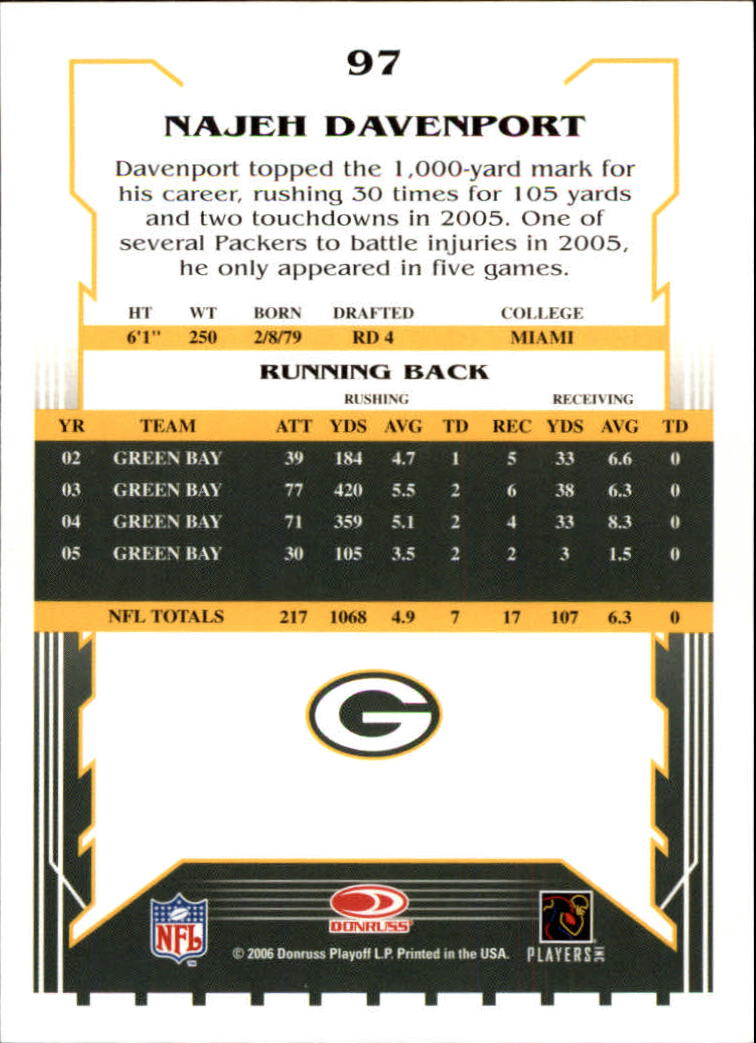 2006 Score #97 Najeh Davenport back image